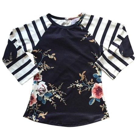 f482223147b Big Girls  Floral Stripe Holiday Party Fall Raglan Top T-Shirt Tee Blouse  Navy 7 XXL (P201809P)
