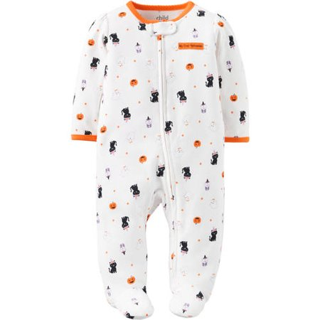Infant Girls White Cotton 1st Halloween Sleeper Cat Ghost & Owl Sleep & Play](1 More Sleep Until Halloween)