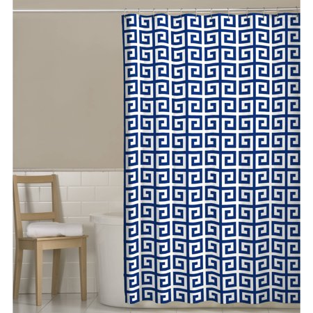 Maytex Greek Key Printed Fabric Shower Curtain