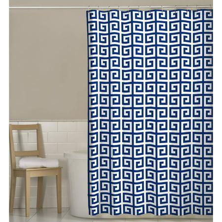 Maytex Greek Key Printed Fabric Shower Curtain