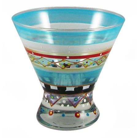 Set of 2 Mosaic Carnival Confetti Hand Painted Cosmopolitan Wine Glass - 8.25 Oz ()