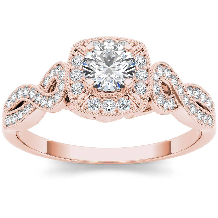 Imperial 1 2 Carat T.W. Diamond Criss-Cross Shank Single Halo Vintage 14kt Rose Gold Engagement Ring by Imperial Jewels