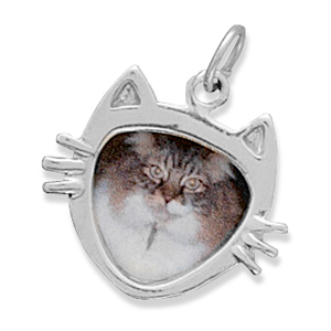 Sterling Silver Cat Face Picture Frame Charm Picture Frame Measures 16x19mm