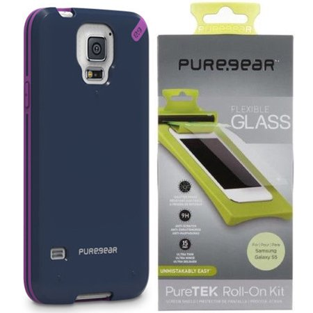 separation shoes 6386d 0ec87 Galaxy S5 Case/Screen Protector, PureGear SlimShell Hard Cover + Flexible  Glass Screen Guard for Samsung Galaxy S5