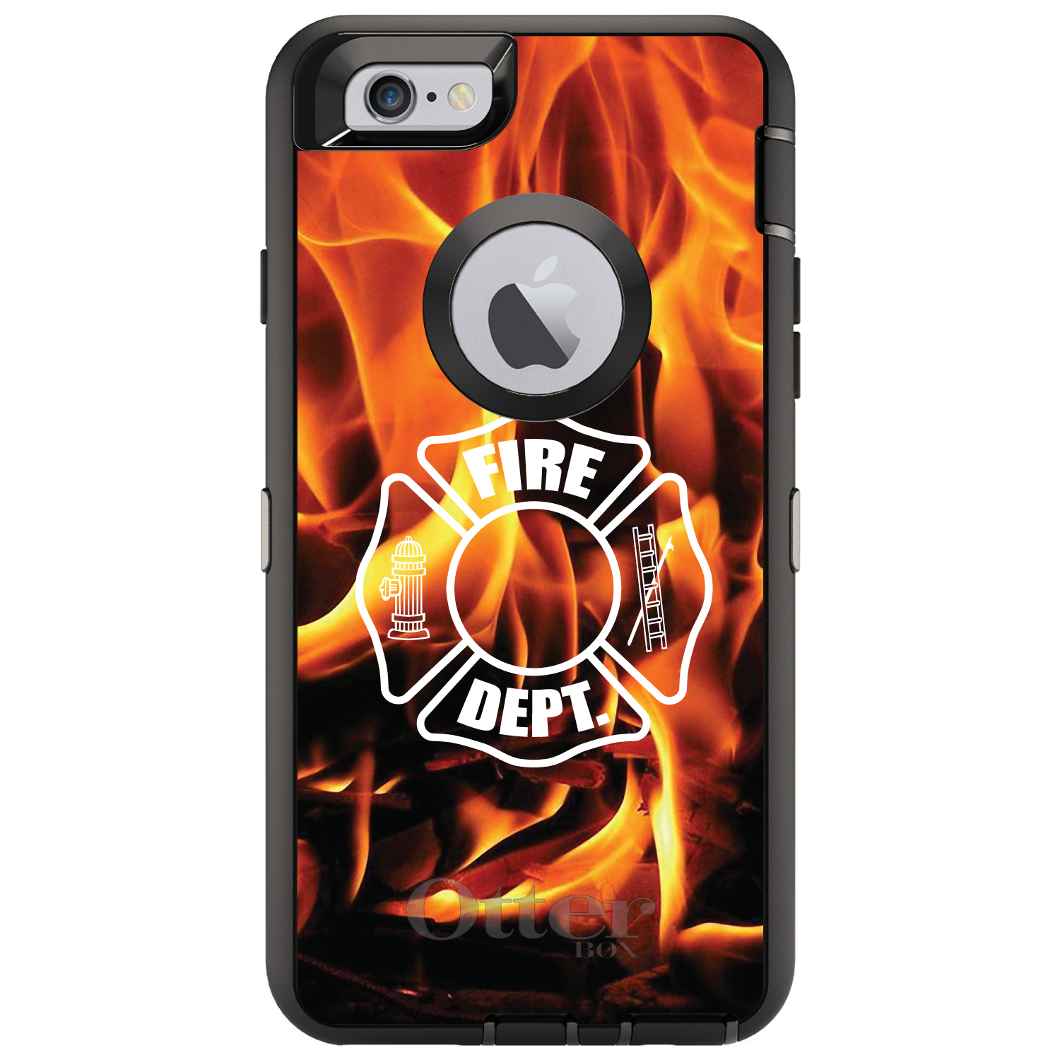 "DistinctInk™ Custom Black OtterBox Defender Series Case for Apple iPhone 6 Plus / 6S Plus (5.5"" Screen) - Flames Fire Department"