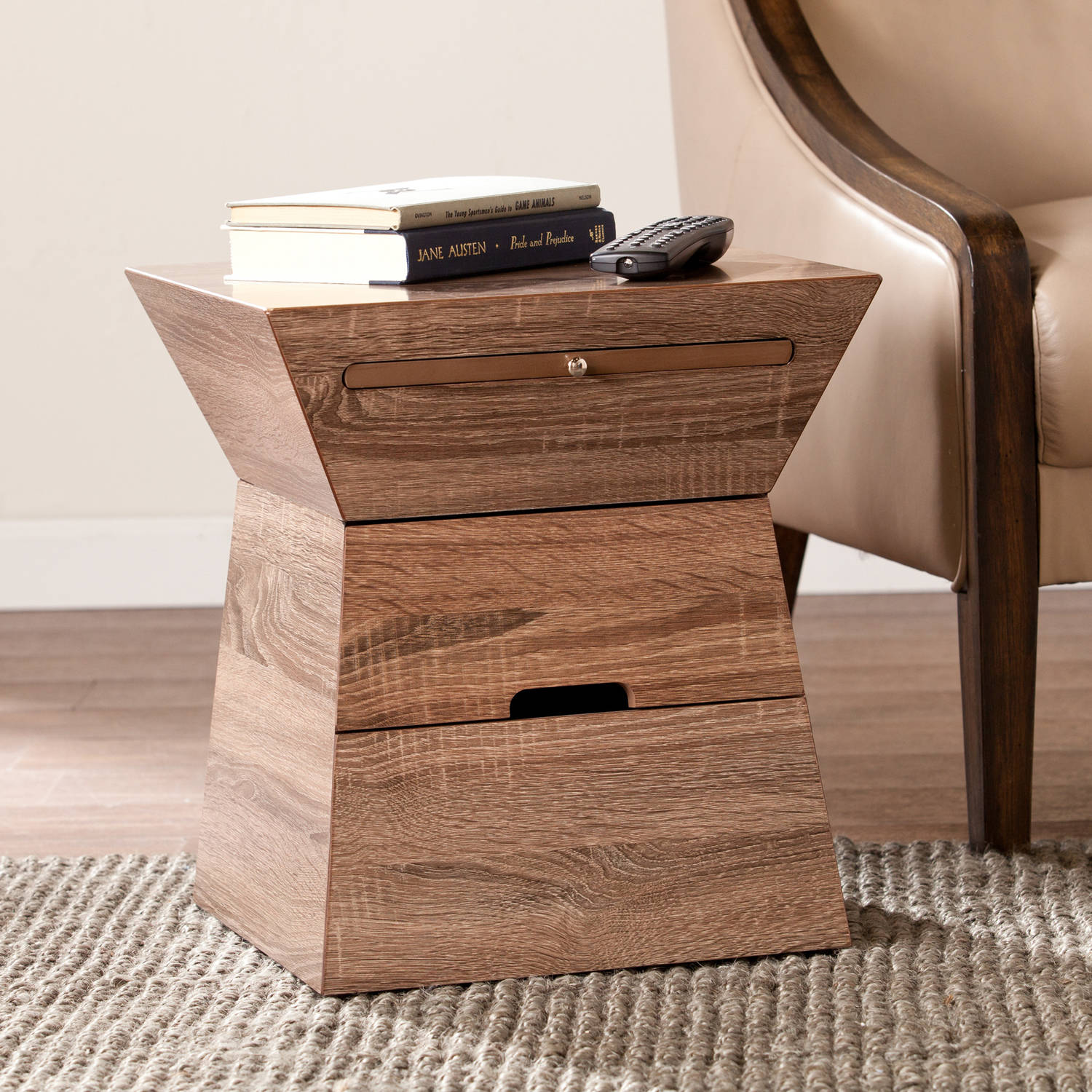 Southern Enterprises Geometric Storage End Table, Weathered Gray