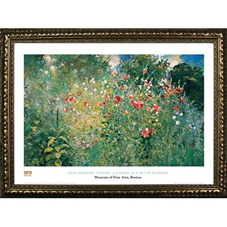 Buyartforless Framed A Garden Is A Sea Of Flowers By Ross Sterling Turner 24X32 Art Print Poster Floral Landscape Famous Painting From Museum Of Fine Arts Boston Collection