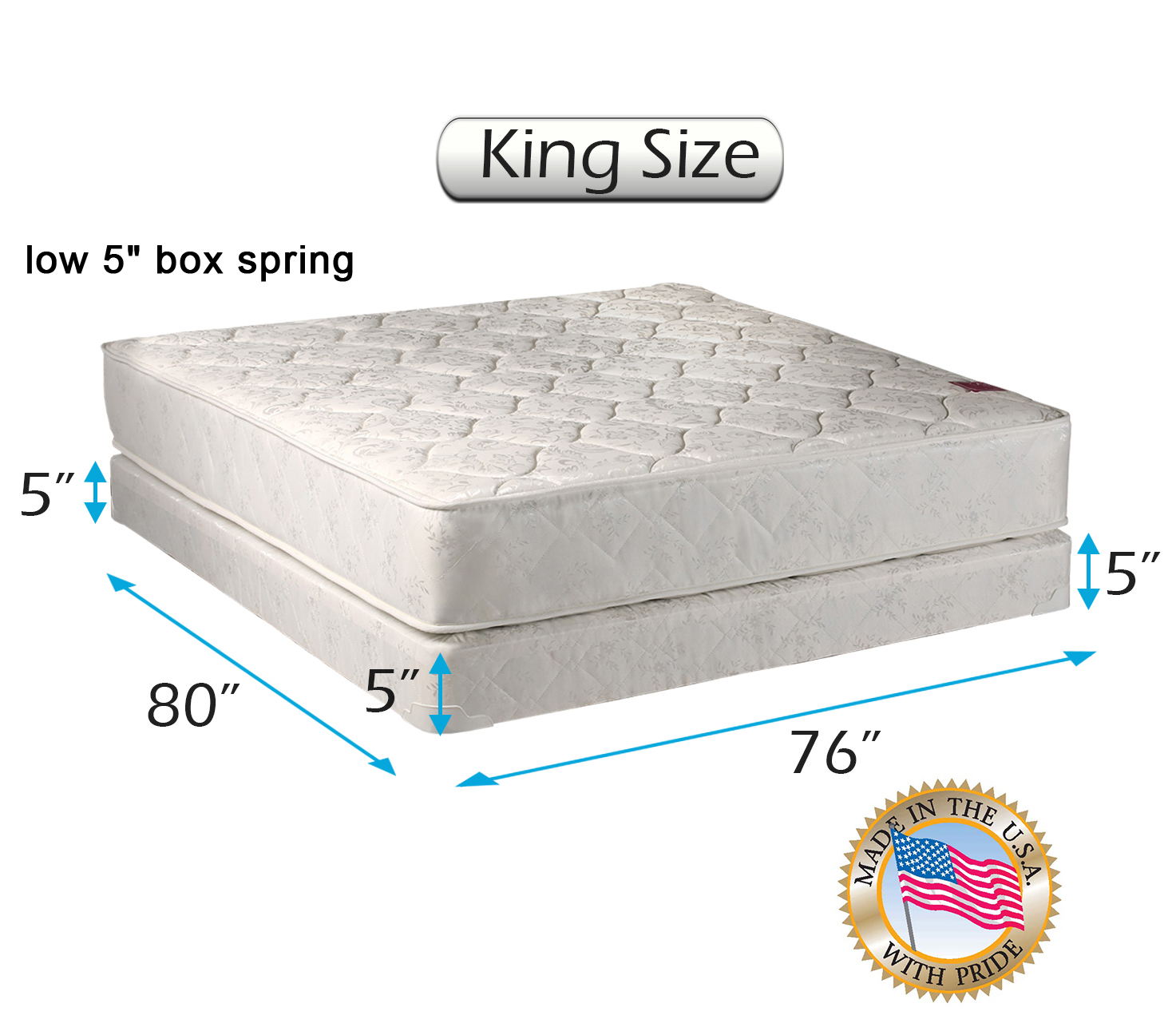 Legacy King Size 76 X80 X8 Mattress And Low Profile Box Spring Set With Bed Frame Included Fully Assembled Good For Your Back Superior Quality Long Lasting And 2 Sided By Dream