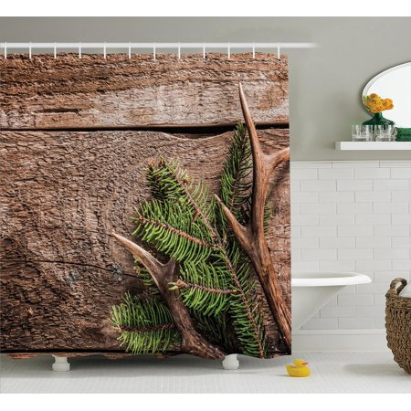 Antlers Decor Shower Curtain Set, Evergreen Branch With ...