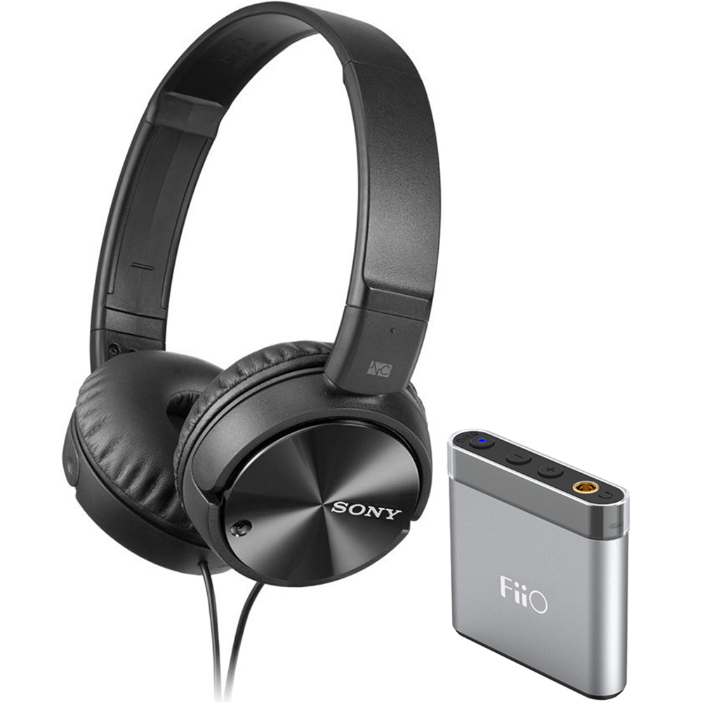 Sony Noise Cancelling Headphones Extended Battery Life (MDRZX110NC) with FiiO A1 Portable Headphone Amplifier Silver