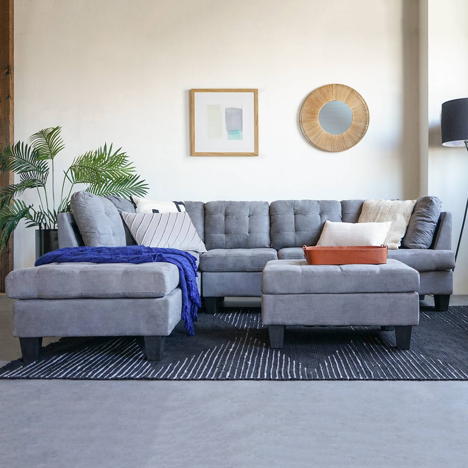 2 Piece Modern Large Tufted Grey