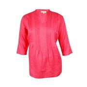 Charter Club Women's Pintucked Woven Linen Tunic