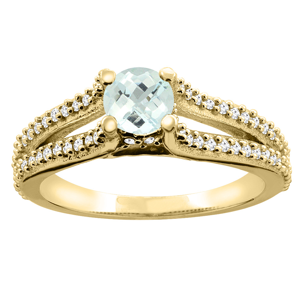 14K Yellow Gold Natural Aquamarine Engagement Split Shank Ring Round 5mm Diamond Accents, size 5.5 by Gabriella Gold