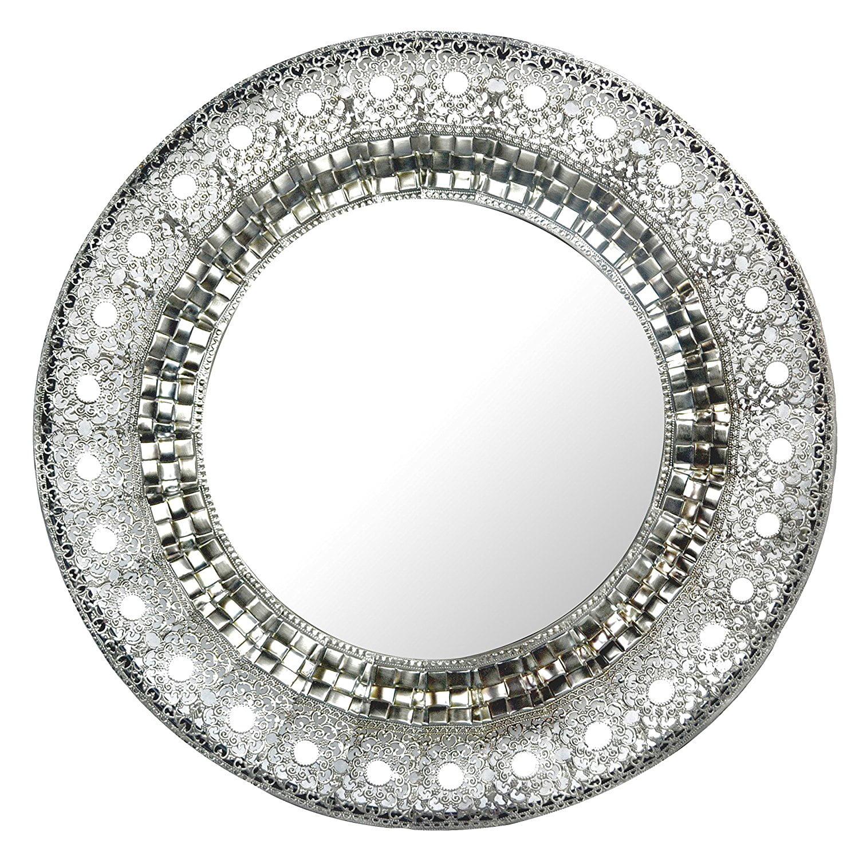 Lulu Decor 19 Oriental Round Silver Metal Beveled Wall Mirror Decorative Mirror For Home Office Walmart Com Walmart Com