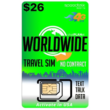 $26 Travel SIM Card - International Talk Text and Data Worldwide on over 210 Countries - 30 Day
