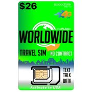 $26 Travel SIM Card - International Talk Text and Data Worldwide on over 210 Countries - 30 Day Service