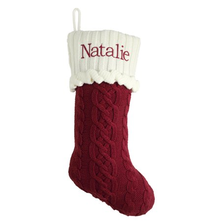 Cable Knit Christmas Stockings.Personalized Cozy Cable Knit Personalized Christmas Stocking Red