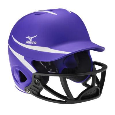 Mizuno Mvp Two Tone Polycarbonate Facemask Batting Helmet L Xl Purple White
