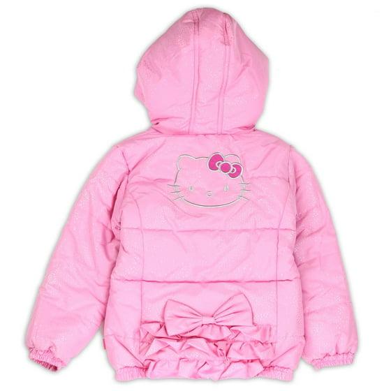 3e47df000 Hello Kitty - Toddler Girl's Shimmer Pink Puffer Hooded Winter ...