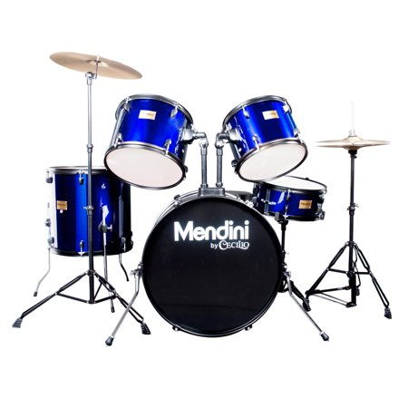 Mendini by Cecilio Complete Full Size 5-Piece Adult Drum Set w/ Cymbals Pedal Throne Sticks, Metallic Blue MDS80-BL