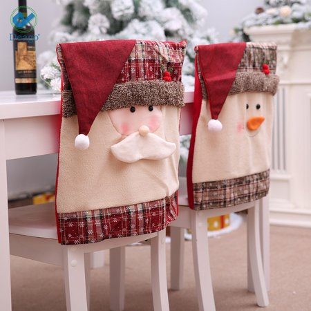 Deago 2 Set Christmas Snowman Santa Claus Chair Back Covers for Dining Room Home Holiday Party Decor
