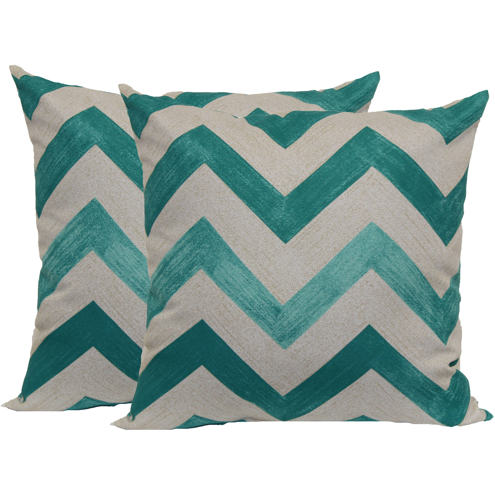 Mainstays Teal Chevron Toss Pillow, 2-Pack