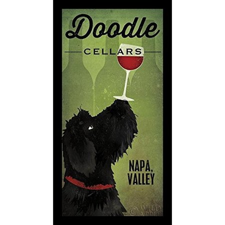 Buy Art For Less 'Black Doodle Cellars Napa Valley' by Ryan Fowler Framed Graphic Art (Napa Cellars Winery)