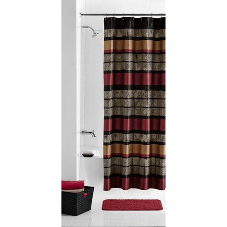 Mainstays Preston Geometric Stripe Fabric Shower Curtain, 1 Each