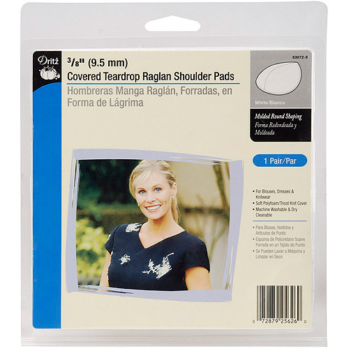 3/8 Covered Teardrop Raglan Shoulder Pads-White 2/Pkg Multi-Colored