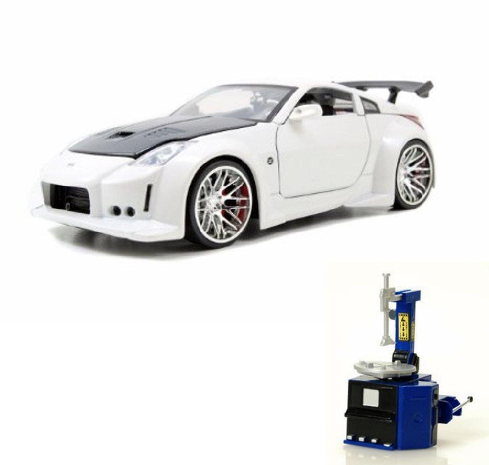 Diecast Car & Tire Station Package 2003 Nissan 350Z, White w Black hood Jada Toys 96810 1... by ModelToyCars