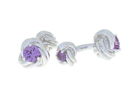 2.5 Carat Amethyst Knot Cufflinks .925 Sterling Silver