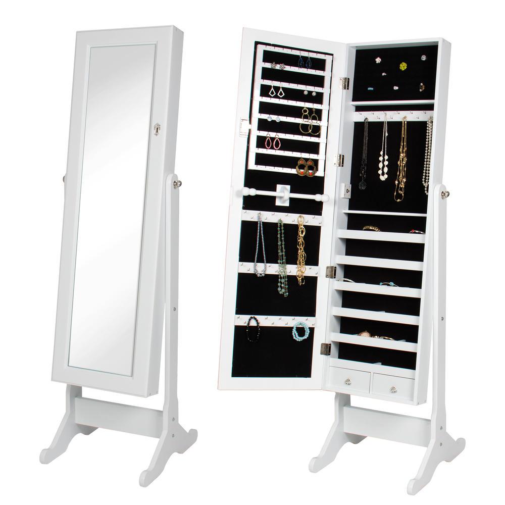 BTEXPERT�� Stylish Wooden Jewelry Armoire Cabinet Stand Organizer Storage Box Case Cheval Mirror Rings White