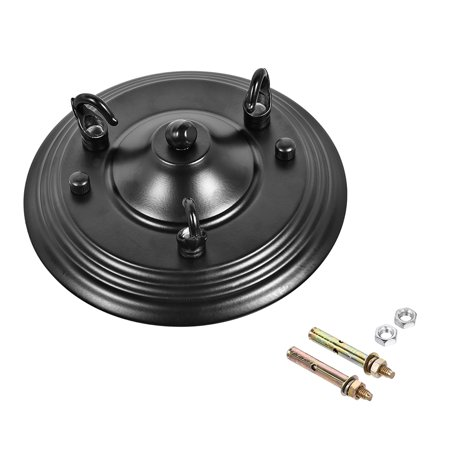 Retro Light Canopy Kit with 3 Hook, Vintage Chandelier Ceiling Plate, 160mm 6.3Inch Black
