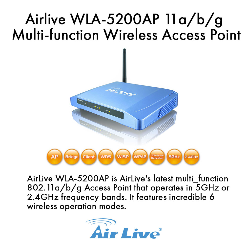 Airlive WLA-5200AP 802.11a/b/g Multi-function Dual Band Wireless Access Point