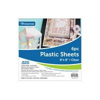 "Plastic Sheet 8x8 .020"" Clear 6pc"