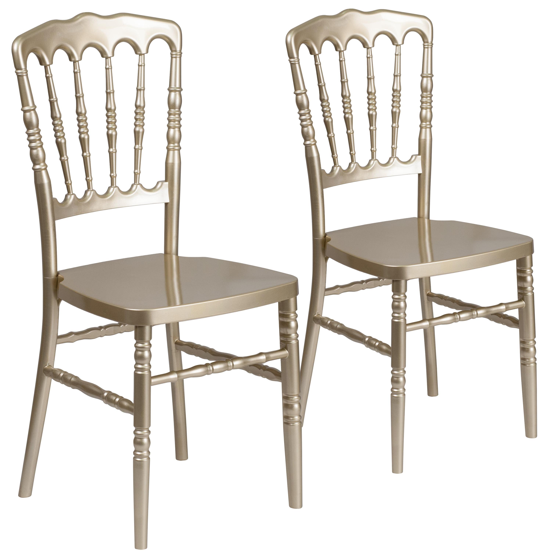 Flash Furniture 2 Pk. HERCULES Series Gold Resin Stacking Napoleon Chair