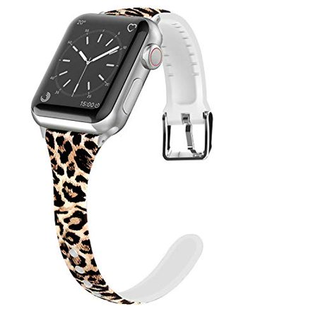 Lwsengme Compatible for Apple Watch Band 38mm 40mm 42mm 44mm, Silicone Slim Women iWatch Bands Wristband Compatible for Apple Want a stylish Apple Watch bands? Want a different I watch bands? Want an I watch band to match your outfit perfectly? Then no doubt, you will love our Apple Watch band!   * unique pattern design on Apple Watch band, leaving a colorful pink, red, brown and White etc.) and fashionable look on any occasion, dress up your Rose Gold/Black/silver I watch and Providing you another special experience in your life.  * easy installation -- to install this band, you only need to take your original band off and push the new band onto the Watch just like how the Apple band works.  * The Apple Watch Sport band are well-made with great design, easy to install with Apple Watch connector and easy to resize the rubber Apple strap flexibly( I watch strap adjustable Length is 4.8-7, not including Apple Watch width).  * best Apple Watch band for women, girls, ladies, Girl friend, Mother and daughter etc.
