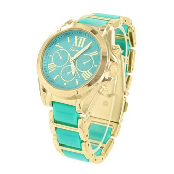 Female Gold Tone Watch MK Style Mint Green Dial Stainless Steel Back Posh Look