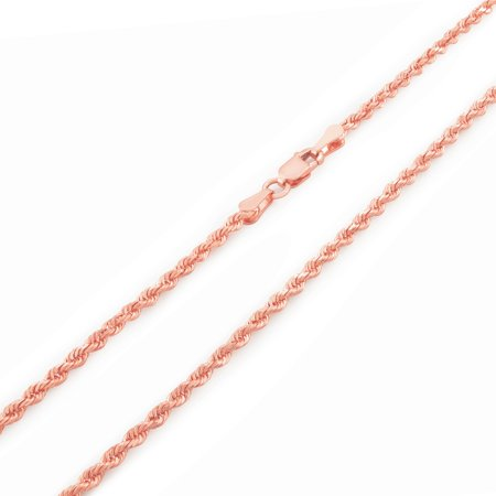 10k Rose Gold 2.5mm Hollow Diamond Cut Rope Chain Pendant Necklace, 14