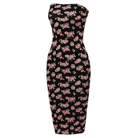 a8414b9d11 FashionOutfit - FashionOutfit Women s Super Sexy Comfortable Floral Tube Top  Body-Con Midi Dress - Walmart.com