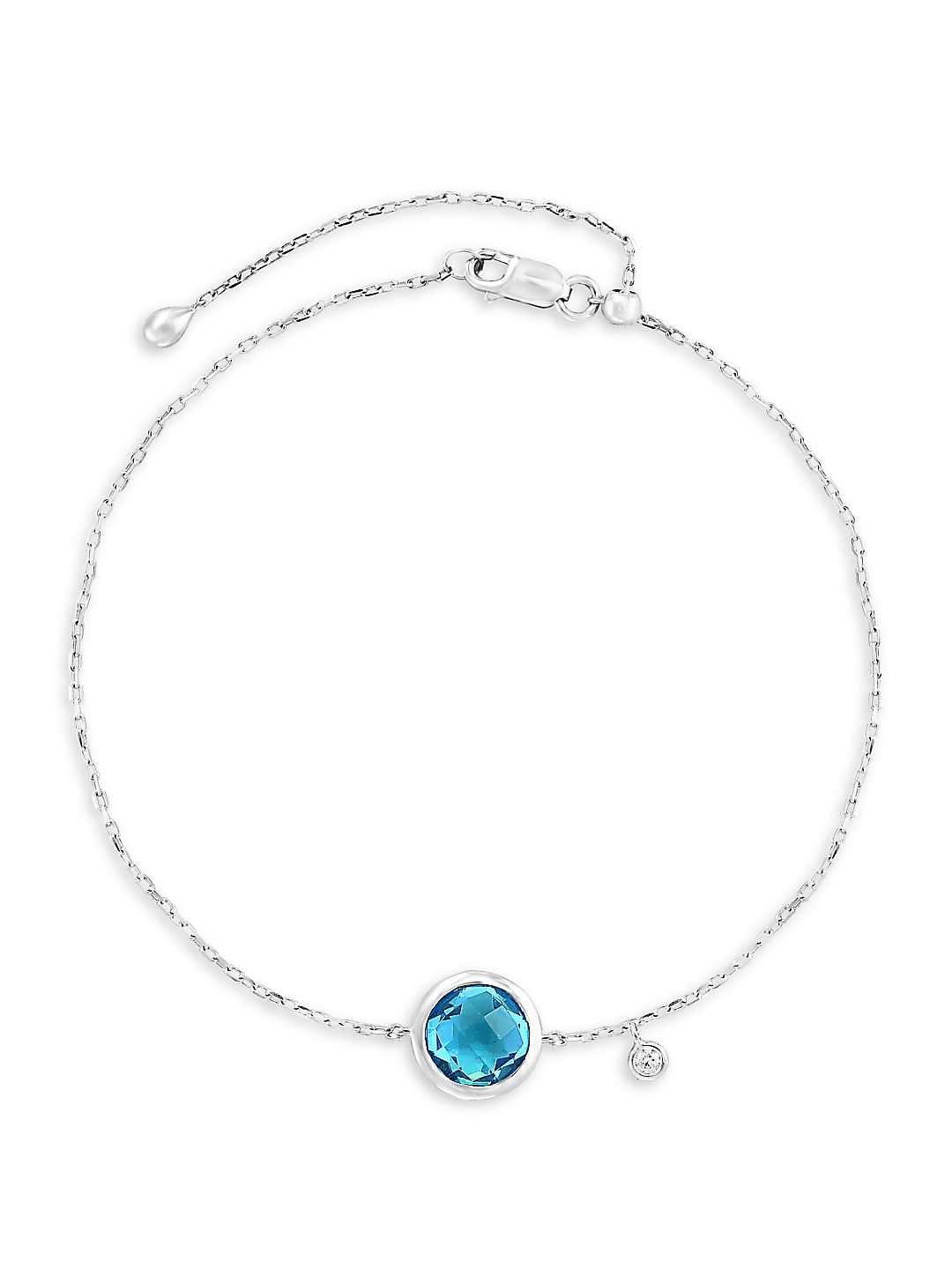 14K White Gold, Round Blue Topaz Disc & Diamond Charm Bracelet