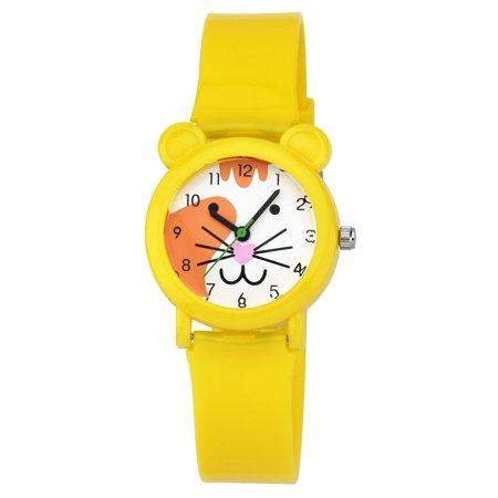 Zeiger New Fashion Girls Kids Children Time Teacher Easy Read Watch Ages 5 - 7, Cartoon Tiger Silicon Band (Yellow) - Watch Halloween Cartoons Online