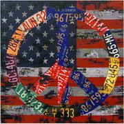 "Oriental Furniture American Flag Peace Canvas Wall Art, Decorative item, Wall art, 19.75""W x19.50""H"