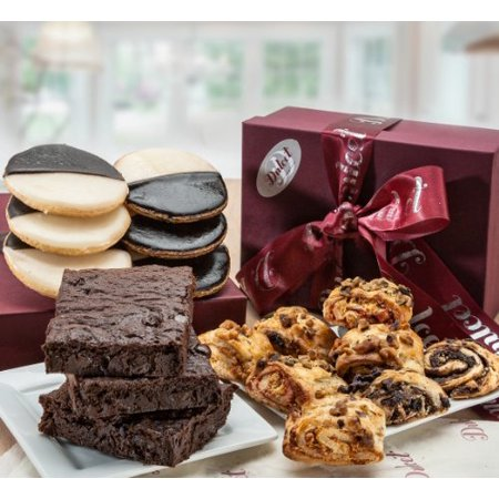 Dulcet Sympathy Classic Bakery Gift Basket Filled with Walnut Brownies, Mini black and White cookies, and Assorted Rugelach, Great Gift Box!