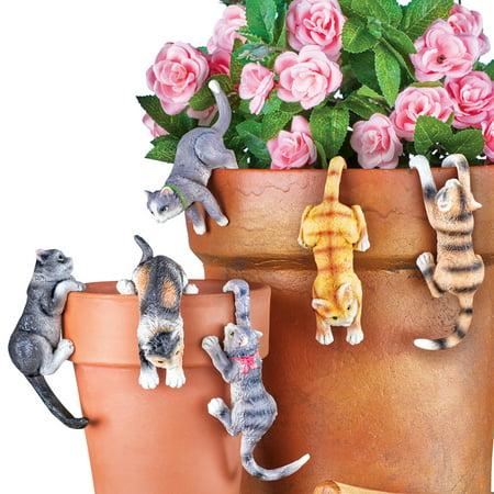 Cute Kitten Planter Pot Hanger Decorations, Set Of 6 - Makes a Great Garden Gift for Cat (6 Planters)