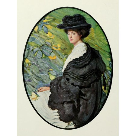 Laura C. Hills Stretched Canvas Art - The International Studio 1908 The Black Mantle - Large 24 x 36 inch Wall Art Decor Size.
