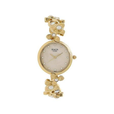 Titan Women's 'Raga Aurora' Quartz Stainless Steel and Brass Casual Watch, Color:Gold-Toned (Model: 95048YM01) Bulldogs Titan Steel Watch