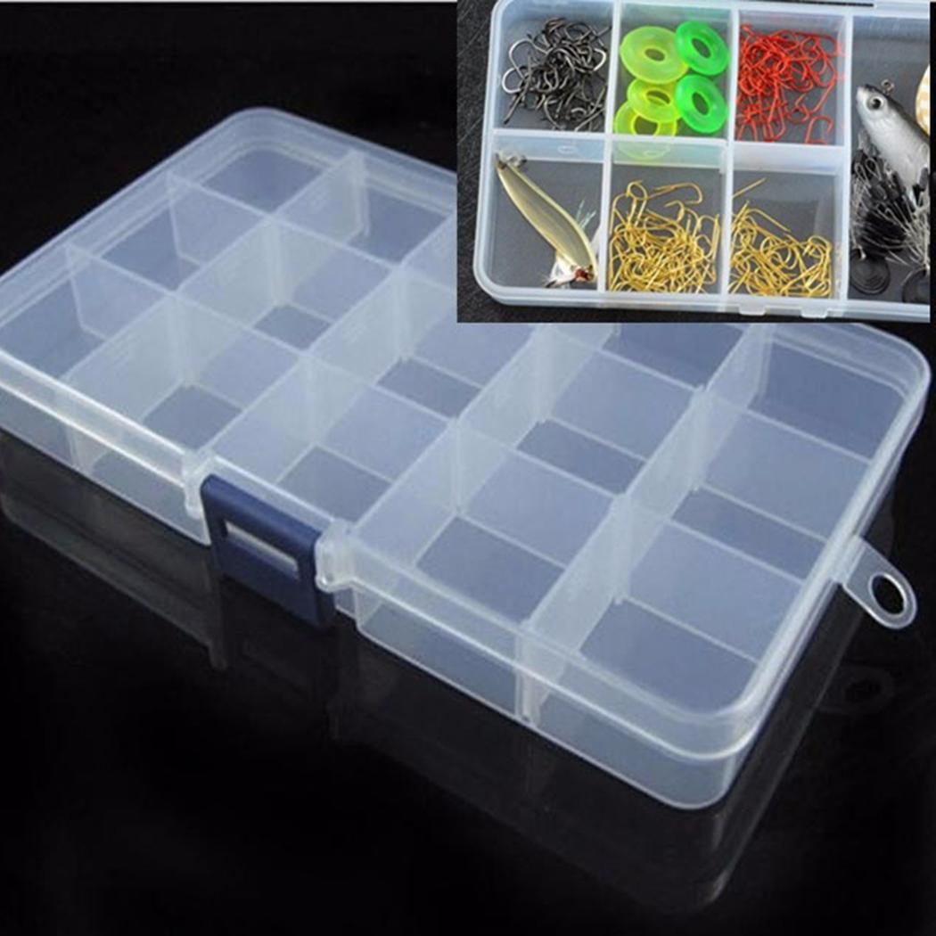 Transparent 15 Slots Organizer Fishing Lure Box Adjustable Plastic Hook Tackle Box Storage Case Organizer Caroj - image 5 de 7