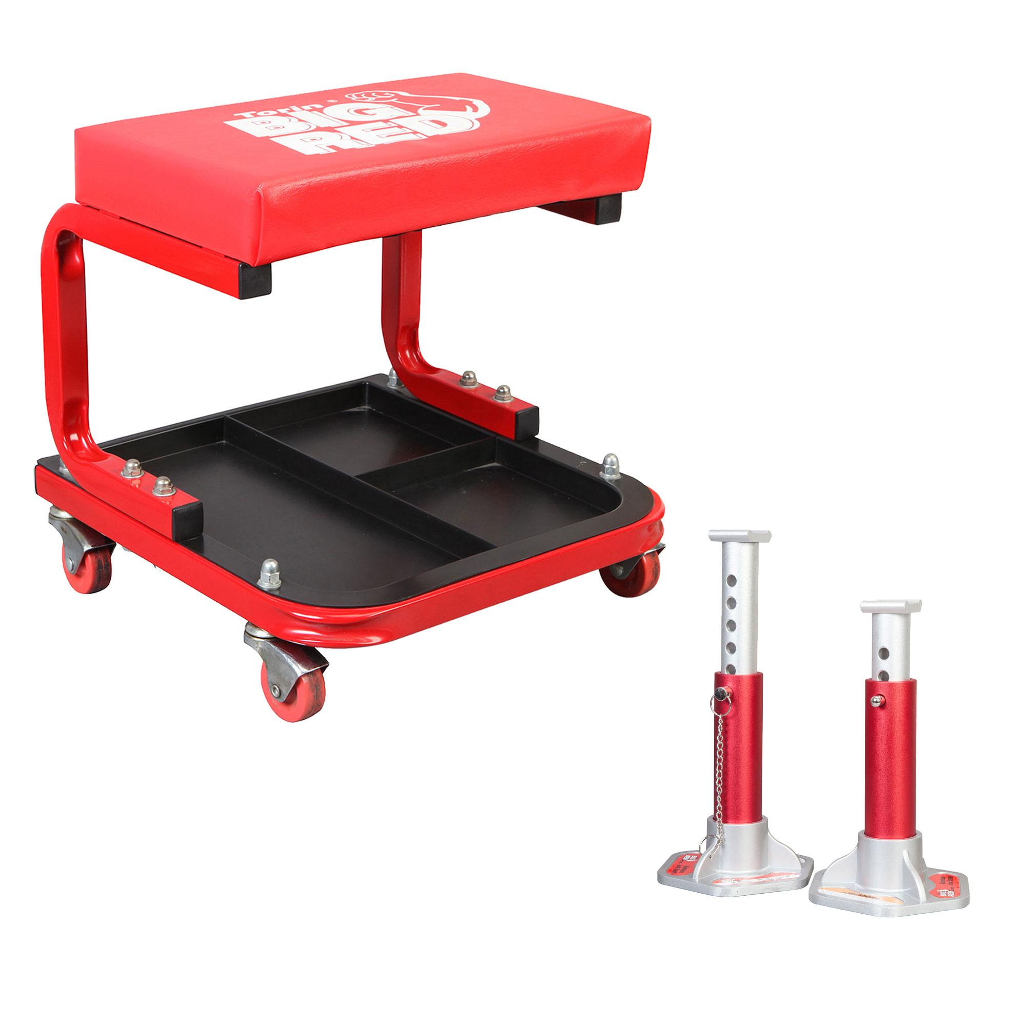 Torin Rolling Creeper Padded Seat Stool with Tool Tray and Aluminum Jack Stands