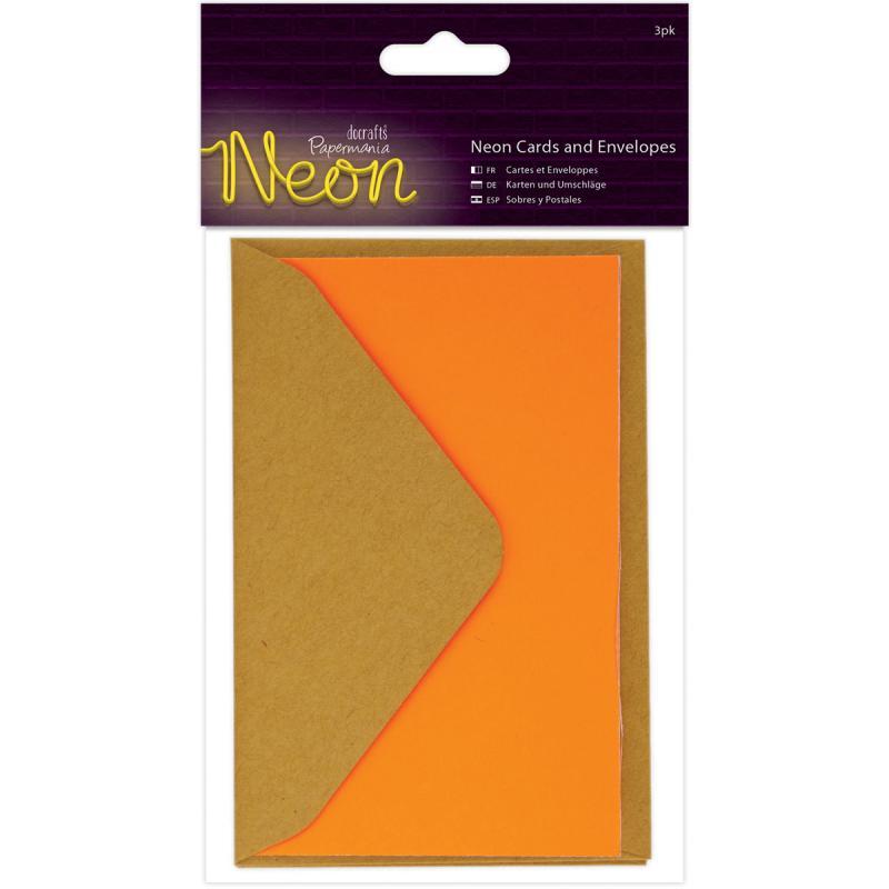 """Papermania Neon Gift Cards W/envelopes 2.5""""x4"""" 3/pkg-orange"""